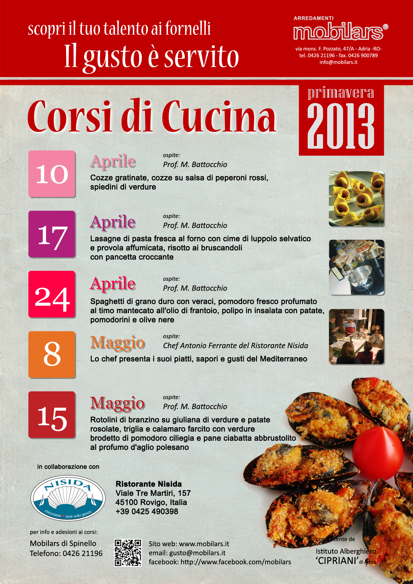 Il gusto servito mobilars - Corsi di cucina gratuiti bologna ...
